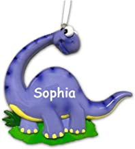 Personalized Friendly Purple and Yellow Brontosaurus Walking Dinosaur Hanging Christmas Tree Ornament with Custom Name - 4 Inches