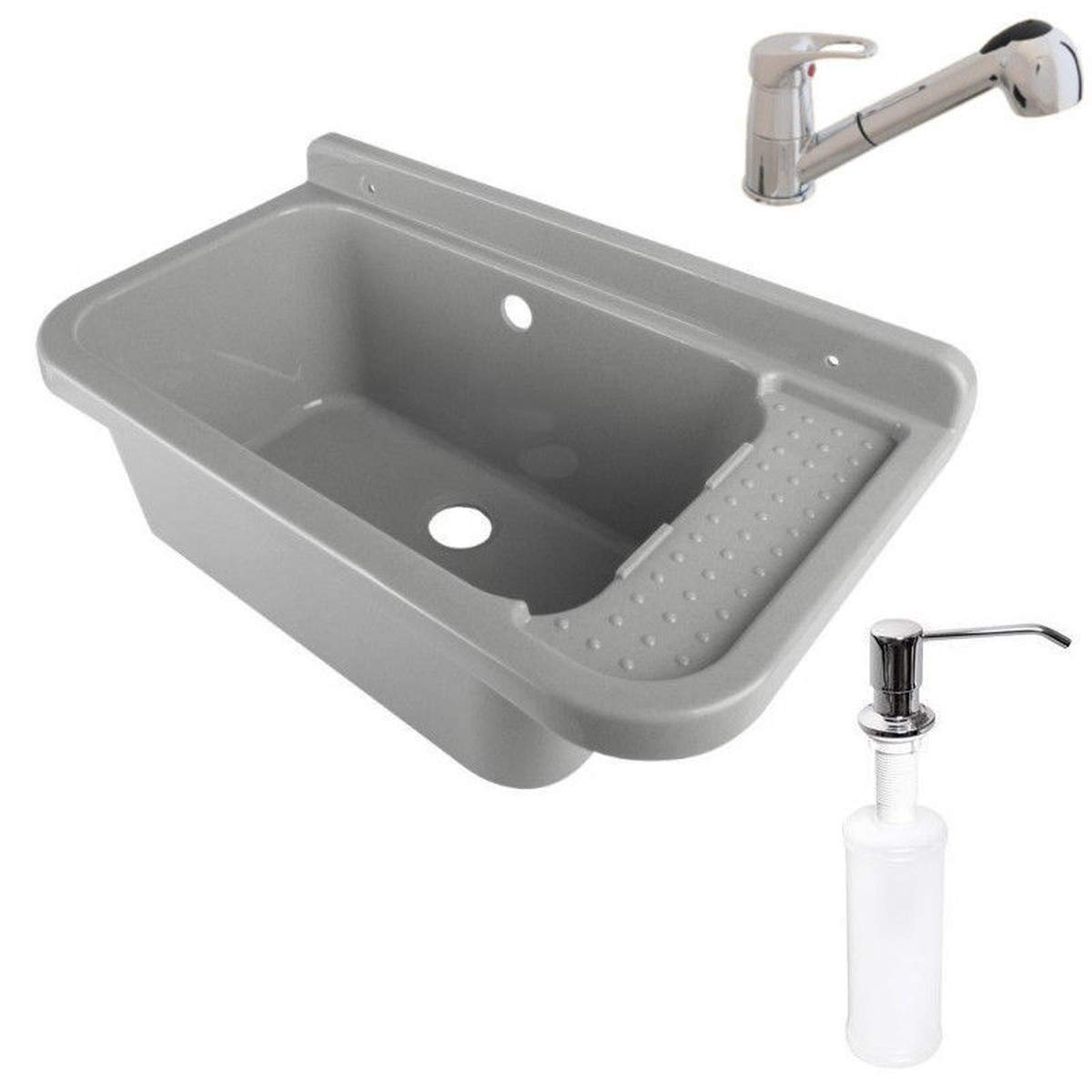 Lavabo de 50 cm x 34 cm x 21 cm, fregadero con rebosadero, lavabo para comercios, lavabo, Jardín, dispensador de jabón, grifería, incluye granito de drenaje, Gris: Amazon.es: Bricolaje y herramientas