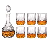YYhkeby Whisky GlassPremium Whiskey Carafe Set ELEADE 4 Glasses complejos Conjunto 100% Barra de Cristal sin Plomo Transparente F Jialele