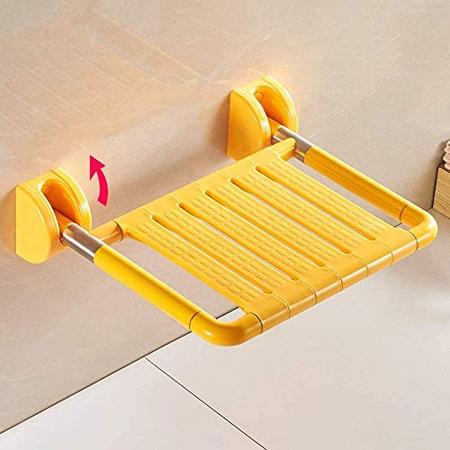 DZX Asientos para baño montados en la Pared, Taburete Ancho para Ducha Plegable con Asas, Silla para baño/para Ancianos, Acero Inoxidable |MAX.200kgs, amarillo-45x48x13cm