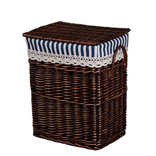 Zhangmeiren Bambú Rima Mimbre Ropa De Ratán Caja De Almacenamiento Caja De Almacenamiento Canasta De Lavandería Canasta Tejida A Mano Sauces Naturales Ajo (Color : Brown)