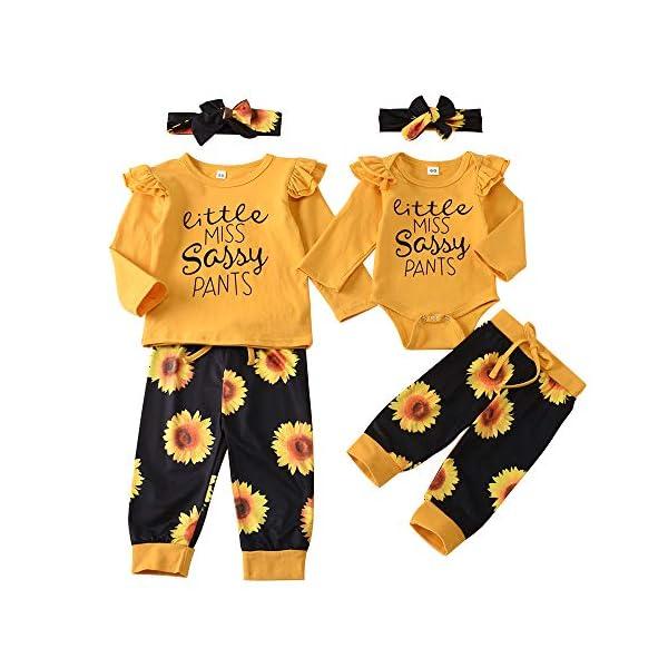 Little Sister Big Sister Matching Outfit Baby Long Sleeve T-Shirt Sunflower Pants Headband Set