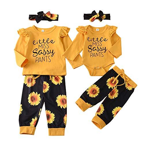 Kleine Schwester Große Schwester Passendes Outfit Baby Strampler Langarm T-Shirt Sonnenblumenhose Stirnband Set (Kleine Schwester, 0-6Monat)