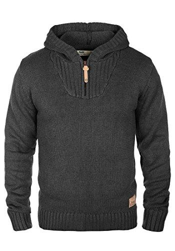 !Solid Penn Herren Winter Pullover Strickpullover Kapuzenpullover Grobstrick Pullover mit Kapuze und Reißverschluss Am Kragen, Größe:L, Farbe:Dark Grey Melange (8288)