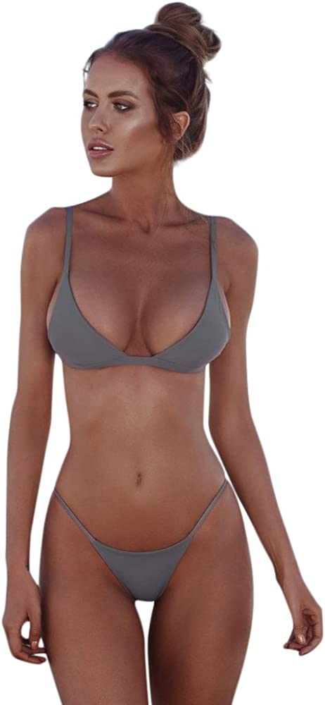 HHmei Women Bandeau Bandage Bikini Set Push-Up Brazilian Swimwear Beachwear Swimsuit