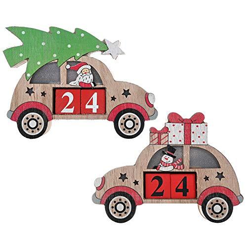 YUANZHU Calendario De Cuenta Regresiva De Navidad Bloques De Madera Perpetual Decoración del Calendario del Modelo del Coche con Luces para El Hogar Oficina Niños Decoraciones Navideñas,Snowman