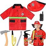 SATKULL Kids Fire Chief Costume, Halloween Fireman...