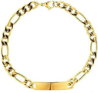 AMGJ Baby's Bracelet Stainless Steel Link ID Bracelet for Women Girls Men Boys Children Customized