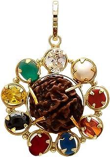 Shree Shyam Gems & Jewellery Brown Navratna Pendant with 5 Mukhi Rudraksha for Men and Women