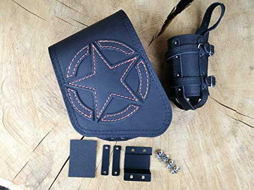 Bolsa lateral con diseño de estrella, color naranja y soporte para Sportster de Orletanos compatible con Harley Davidson, bolsa de sillín oscilante, Sporty 48 1200 883 Iron calavera alero