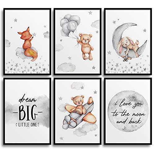 Frechdax® Lot de 6 posters pour chambre d'enfant - Format A4 - Décoration pour chambre de bébé - Gris - Ballons gonflables