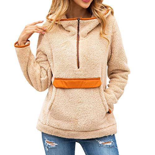 Pullover Jacket Women Long Sleeve Hoodie Elegant Stand-Up Collar Patchwork Pockets Half Zip Fleece Warm Fluffy Sweatshirt Autumn Winter Casual Party Top Coat Women M