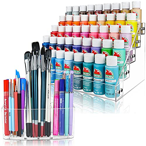 Acrylic Paint Organizer & Paint Brush Holder (No Bead Option). Perfect for Craft & Hobby Paint Storage. The Acrylic Paint Rack fits 2oz Acrylic Paint Bottles, Paint Tubes, Miniature Paints & more.