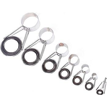 7 pcs ensemble en céramique yeux anneau de pêche embouts de guidage de