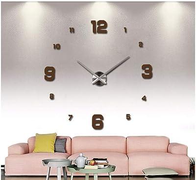 YUAnCC 3D Large Frameless Wall Clock Mirror Number Sticker Modern Home Decal Decor,A