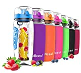 willceal Fruit Infuser Water Bottle 32oz Durable, Large - BPA Free Tritan,Flip Lid