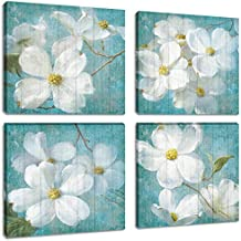 Blooming White Gardenia Flower Oil Paintings Prints Canvas Wall Art Abstract Retro Floral Pictures 4 Panels Artwork for Bedroom Framed Home Decor