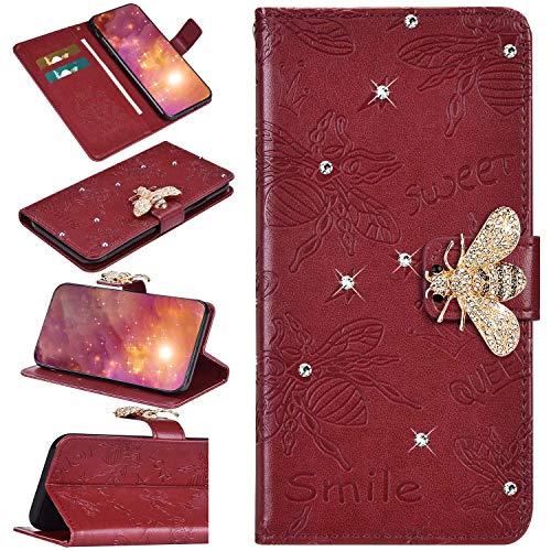 Urhause Kompatibel mit Samsung Galaxy S10 Plus Hülle Diamant Geprägt Funkeln Glänzend Hülle Leder PU Handyhülle Magnetverschluss Standfunktion Handytasche Brieftasche Tasche Kartenfach Etui Case Rot