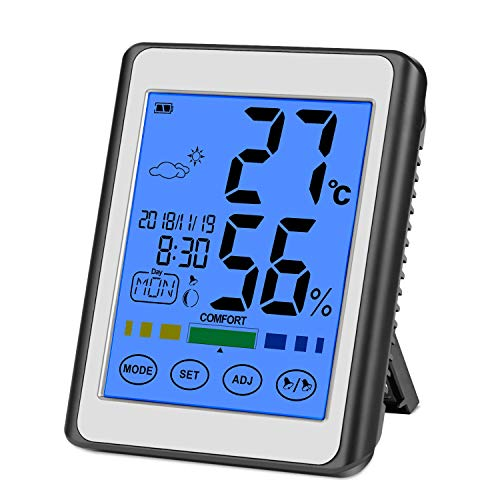 CHOELF Termometro Igrometro Digitale, Termometro Ambiente interno per monitorare Temperatura e Umidità dell'ambiente con Retroilluminazione, Data e Orario, Grande Schermo di Tocco