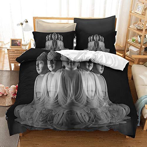 BH-JJSMGS DREI Sätze Buddha Buddha-Bettwäsche, Leichter Bettbezug aus Polyester-Mikrofaser, facettenreicher Buddha 210x210cm