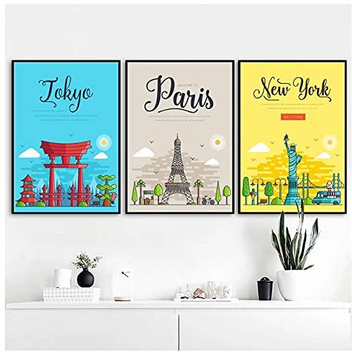 BINGJIACAI París, Nueva York, Tokio, paisaje de la ciudad, póster de viaje, imágenes artísticas de pared, impresiones, dibujos animados, lienzo, pintura, decoración del hogar, 40x60cmx3 sin marco