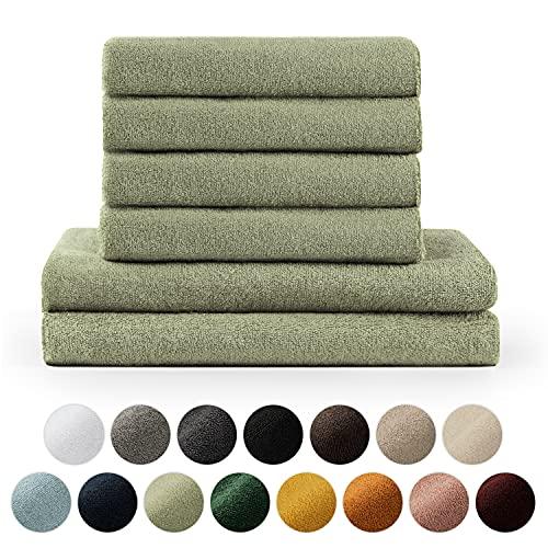 Blumtal Set de 2 Toallas de Baño (70x140cm) + 4 Toallas de Manos (50x100cm) - Toallas Suaves y Absorebentes, 100% algodón, Certificado Oeko-Tex 100, Verde Claro