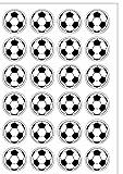 24 pré-découpée Noir & Blanc Football plaquette comestibles Papier Cake Toppers décorations rondes