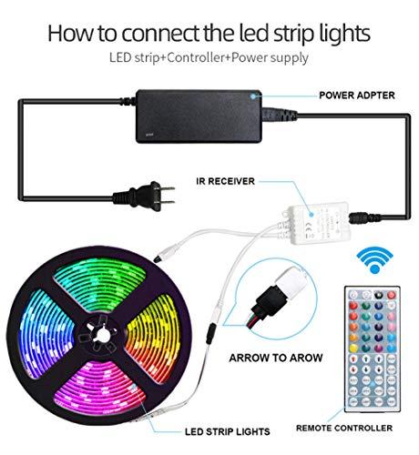 Striscia luminosa a LED colorata per atmosfera, 300 luci 12V bassa tensione 5050RGB striscia flessibile con colla a goccia, IP65 luci epossidiche waterproof_300+44 tasti+senza alimentazione