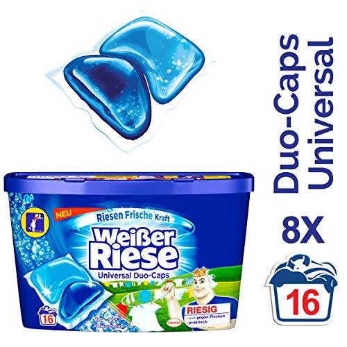 Weißer Riese Duo-Caps Universal, Vollwaschmittel, 128 (8 x 16) Waschladungen, extra stark gegen Flecken