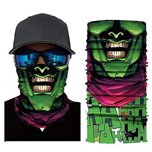 mxjeeio Clown Halstuch Maske Schal Schlauchtuch Kälteschutz Gesichtsmaske Halloween Motorrad Ski Snowboard Jagen Angeln Motorrad Fahrrad Paintball