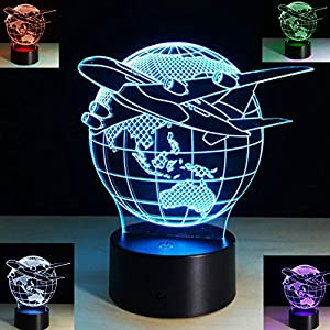 SUPERNIUDB 3D Aircraft Globe Earth Night Light 7 Color Change LED Table Lamp Xmas Toy Gift