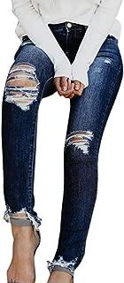 2019 Women's Ankle Skinny Jeans,Hight Waisted Skinny Hole Stretch Slim Calf Lengt Denim Pants by-NEWONESUN