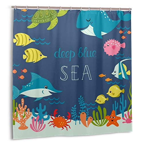 Ocean Fish Shower Curtain for Kids Underwater Sea Fish Baby Shower Curtain Colorful Cute Cartoon Fish in Deep Blue Sea Shower Curtain Crab Starfish Coral Reefs Bath Curtain Blue Ocean Shower Curtain