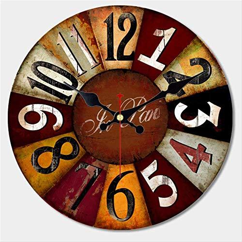 PMWLKJ Reloj de Pared de diseño de vajilla Grande Vintage Silencioso Hogar Creativo Cocina Relojes de Pared Decoración para el hogar Relojes de Pared Retro 40 cm (16 Pulgadas) Rojo