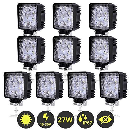Hengda 10x 27W LED Arbeitsscheinwerfer 12V 24V Scheinwerfer Rückfahrscheinwerfer Traktor LED Strahler für Offroad, KFZ, SUV, LKW, Auto Zusatzscheinwerfer IP67 Wasserdicht, Quad