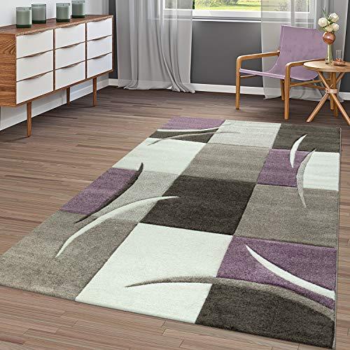 T&T Design Tapis Moderne Salon À Carreaux Tendance Pastel Lilas Beige Gris Crème, Dimension:60x110 cm