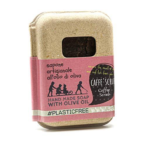Saponetta Artigianale e 100% Naturale - Sapone per Viso, Mani, Corpo e Capelli - Elimina Odore di Aglio, Cipolla e Pesce, Ottimo come Pasta Lavamani Abrasiva - 100 g, Caffè