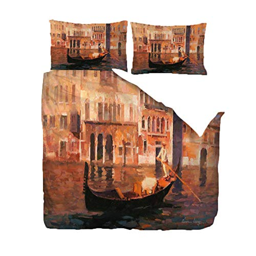 Printed Duvet Cover Set - King Size (94.5x86.6 inch) - Small Boat On The River,3D Polyester Printed Bedding Duvet Cover with Zipper,3 pcs Soft Microfiber Quilt Cover Set