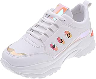 Womens Sneakers,Fashion Women Lace Up Mix Color Shiny Neutral Breathable Cool Wedges Shoes