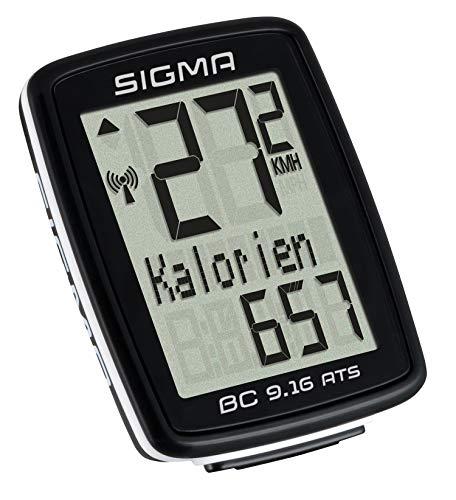 Sigma BC 9.16 ATS Compteur de vélo sans Fil Unisex-Adult, Noir, 3,5x7,8x11,3