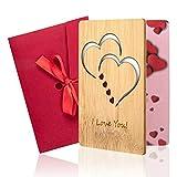LITSPOT Tarjeta de felicitación de Madera con sobre, Tarjeta de felicitación de bambú para el día de San Valentín, el día de la Madre, el Aniversario de deshierbe o Cualquier ocasión
