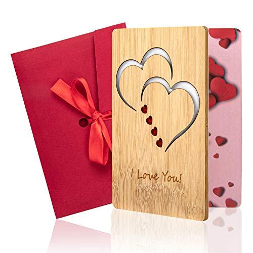 LITSPOT Handgefertigte Beschreibbare Bambuskarte mit Herz Hochzeitskarte, Geschenkkarte Geburtstagskarte Hochzeitskarte Weihnachtskarte, Speichern Sie die Grußkarte