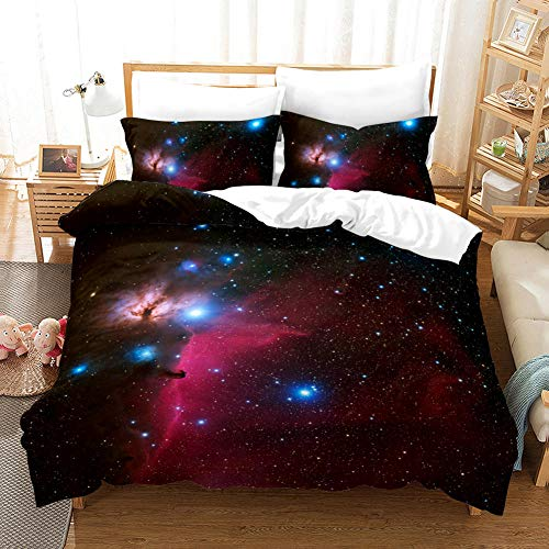 B/A Duvet Cover Set Red Starry Sky 3 PCS with Zipper Closure Non-Iron Polyester Easy Care Soft Microfiber Bedding Set plus Pillowcases Fade & Stain Resistant 94.48 x 86.61 inch