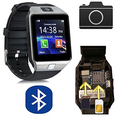 CursOnline Unisex pulsera caso muñeca reloj teléfono reloj inteligente SmartWatch m9, correa de silicona, SIM, Micro SD, Bluetooth pantalla táctil Android Samsung Apple iPhone menú en italiano negro y plata col111–10