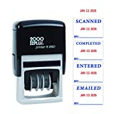 2000 PLUS 4-in-1 Self-Inking E-Message Date Stamp, 1-78' x 3/16' Impression, Blue and Red Ink (011098)