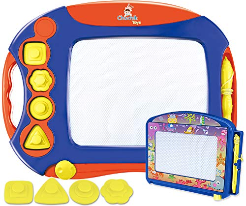 CHUCHIK Toys Magnetic Drawing Board for Kids and Toddlers. Large 15.7 Inch Magna Doodle Writing Pad Comes with a 4-Color Travel Size Sketch Doodle Board (Blue-Red-Yellow)