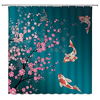 jingjiji Japanese Shower Curtain Pink Cherry Blossoms Watercolor Koi Fish Flower Branch, Spring Bloom,Asian Traditional Chinese Painting Bathroom Decoration Polyester Fabric Hook  Blue 70 X 70 Inch