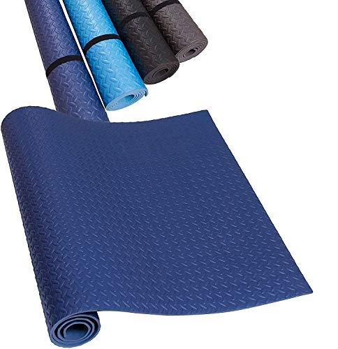 HD Fitness FM2000DBLU Esterilla de Yoga Antideslizante - Colchoneta Antideslizante para Gimnasio Pilates Máquinas para Hacer Ejercicio - Color Azul Oscuro – 200x100cm