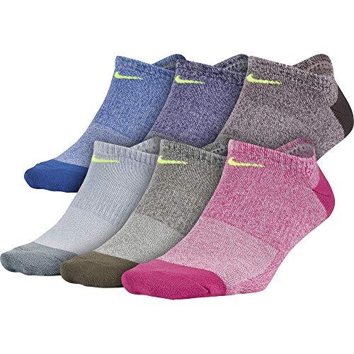 耐克女性日常轻薄无秀袜(6双),粉色/紫色/蓝色,中号