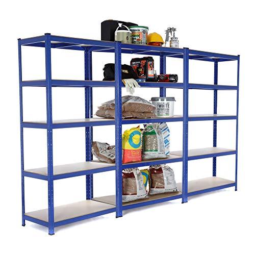 3bahía resistente garaje estantería de acero–estantería (275kg por estante (5niveles 1800mm H x 900mm W x 450mm D) se envía con maza de goma + entrega gratis al día siguiente *